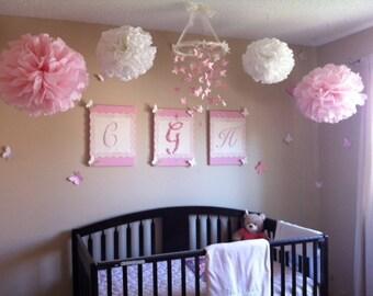 Tissue Pom Poms - Set of 4 Poms - Birthday - Nursery - Shower - Wedding - Ceremony Decorations
