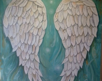 Angel Wings painting  Custom order your own special wings repurposed pages and music
