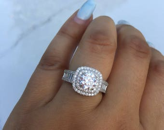Cluster Ring Engagement Ring Silver Engagement Ring Wedding