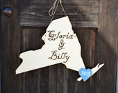 Wooden Wedding State Sign with Bride and Groom handpainted names - New York, Distressed Ivory - all states, many colors available