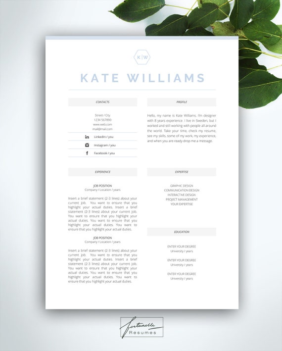 Resume Template 4 Pages CV Cover Letter Instant