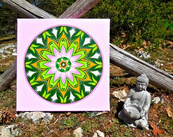 Mental wellbeing mandala painting, sacred geometry new balance, gift idea for wedding, meditation, home decor furniture, decorative items.