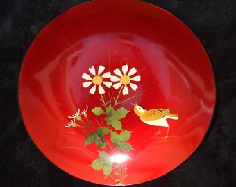 Vintage Lacquerware Dish  , Red Laquer ware , Red  Bowl with Bird and Flowers