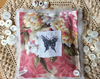 Shabby Floral Lavender Sachet Mother's Day Butterfly Cottage Farmhouse Decor