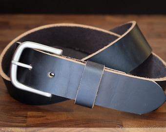 "Custom sized belt - 1.5"" width - Horween Chromexcel leather - heel bar buckle - black chromexcel"