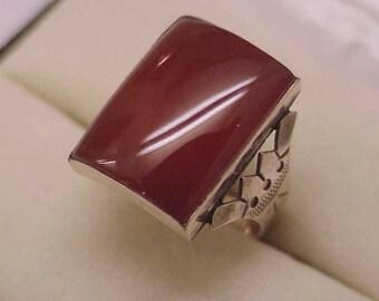 1860s  Antique  Victorian 10kt Rose Gold Huge Natural Carnelian  Ring