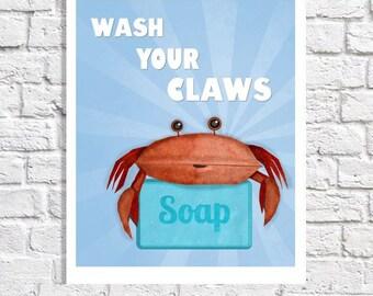 Lavez vos mains Print crabe Art bleu salle de bain règles signe plage salle de bain Kids Decor lavage de mur vos griffes citation d'images pour enfants garçons Art