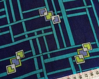 Vintage MOD Navy blue geometric print cotton voile fabric 3.8m