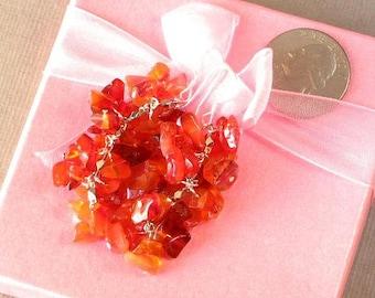 Earrings Red Carnelian Chip Beads Chained Dangle 925 ESCN0312