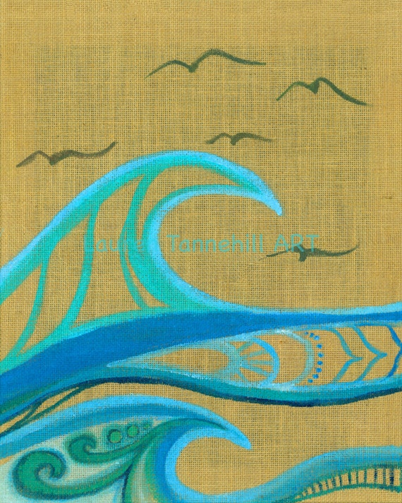 8x10 Giclee Print Burlap Waves and Birds Flying Enlightened Surf Art by Lauren Tannehill ART