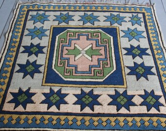 """3'3""""x3'5"""" Turkish Small Square Blue- White Star Design Handwoven Wool Rug,Small Carpet"""
