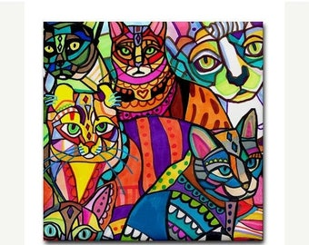 50% SALE- CATS Art Ceramic Tile Colorful Art by Heather Galler