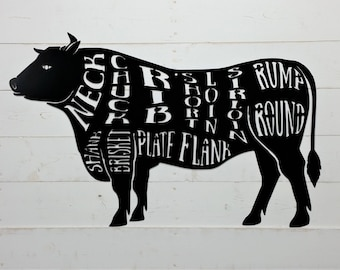 Cow, Butcher Shop Sign, Beef Meat Chart, Butcher Diagram, Meat Cuts, Kitchen Wall Art Metal Sign