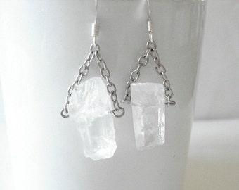 Quartz Earrings Ice Earrings Earrings Icecube Earrings Chandalier Ice Earrings Icecube Jewelry Earrings  Beach Earrings