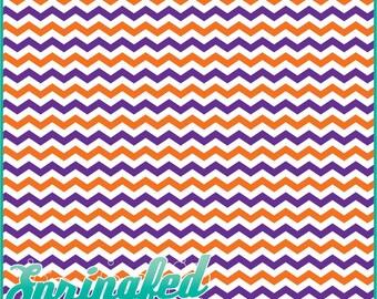 Orange, Purple & White Chevron Pattern #1 Craft Vinyl Chevron Stripes Adhesive Vinyl Sheets