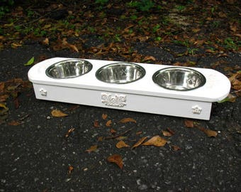 3 One Pint Bowl Elevated Pet Feeder for Small to Medium Cats or Dogs, Pet Feeding Station,  Pure White Lightly Distressed, Made To Order