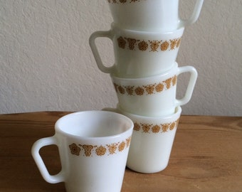 Five (5) Vintage Pyrex Mugs  in Butterfly Gold (#1410), Retro Pyrex Mugs