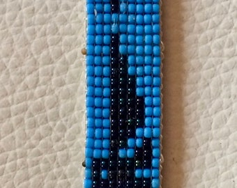 Woven leather and beads, Native American cuff