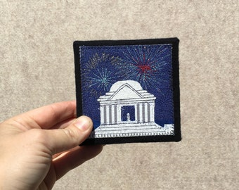 Mini Jefferson Memorial with Fireworks, 4x4 inches, original sewn fabric artwork, handmade, freehand appliqué, ready to hang canvas