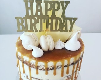 Happy Birthday Cake Topper - Gold Cake Topper - Gold Mirror Cake Topper - Birthday Cake Topper - Assorted Colours