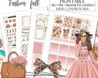 Fashion Fall Planner Stickers for Erin condren Lifeplanner/Printable Planner Stickers/Autumn weekly kit/Fashion weekly kit/Autumn Planner