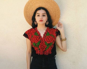 Handmade Mexican Embroidered Top-Black with Red Floral: XL