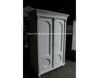 FOR SALE Original Antique French 'Rough Luxe' Solid Pine Armoire