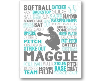 Softball Catcher Art, Girls Softball Typography Poster Art, Softball Player Gift, Personalized Gift for Softball Team Coach, Softball Canvas