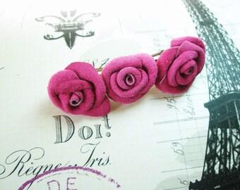 Leather Rose Barrette, Flower Barrette, suede Rose Flower Barrette, gift for her, birthday gift, 3rd anniversary gift, wedding gift