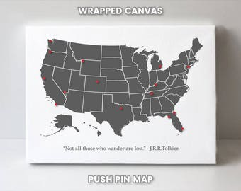 USA Pin Board Map, United States Push Pin Map, US Travel Map, Christmas Gift for Best Friend, Wedding Gift for Her Gift for Bride from Groom