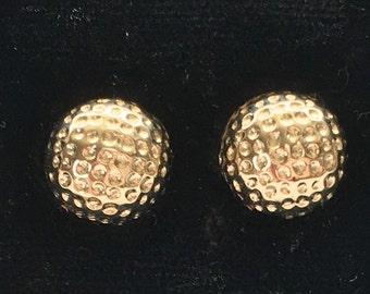 14K Gold Golf Ball Earrings, Medium