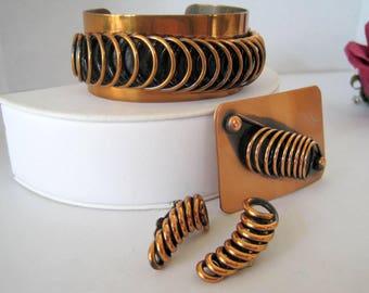 Renoir Copper Set,  Modernist Coils, Cuff Brooch Earrings, 4 piece copper set