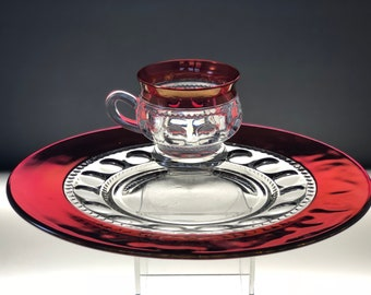 Red Glass Vintage Snack Plate Cup Set Tiffin Kings Crown Ruby Flash Thumbprint