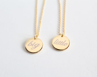Custom Engravable Charm Necklace, Big or Little, Gold/Silver/Rose Gold, Greek Letters, Sorority Sisterhood Jewelry, Bridesmaid Gift