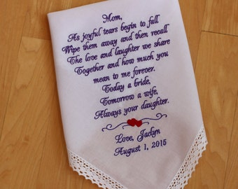As joyful tears begin to fall - IVORY or WHITE, Mom Monogrammed Handkerchief, Mother of the Bride Gift,Personalized. LS4 M170F38