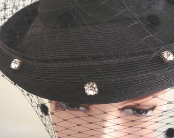 Saucy 50s Black Faile Rhinestones Chenille Dotted Veil Tilt Saucer Hat Chapeau Restored Back to Life