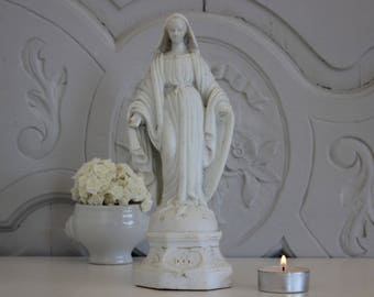 French religious Virgin Marie.Antique Virgin Mary statue. White biscuit statue.