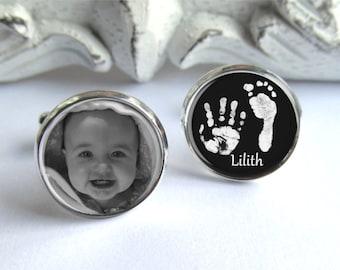 Personalisierte Manschettenknöpfe, Fußabdruck Manschettenknöpfe, Manschettenknöpfe für Papa, individuelle Baby-Foto-Geschenk