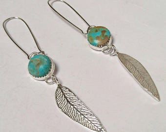 Sterling silver handmade leaf earring earrings with 12m natural Arizona turquoise cabochons, hallmarked in Edinburgh.
