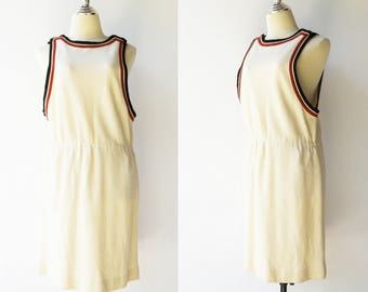 Vintage 1970s Jumper Dress / Rare ALED Wool Jumper Dress / Size M