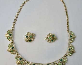 Vintage Detailed Coro Green Rhinestone Necklace and Earrings