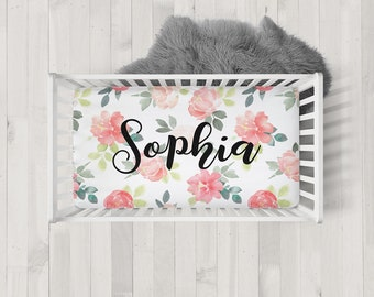 Personalized Crib Sheet Name Sheet Baby Girl Nursery Decor Toddler Sheet Custom Fitted Crib Bedding Baby Shower Gift Watercolor Floral