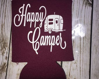 Happy Camper Can Cooler / Happy Camper Can Holder / camping life / beverage huggie / can cooler / beer holder / beer hugger