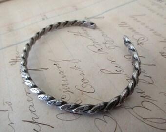 sterling silver cuff rope bracelet - adjustable