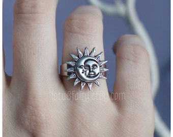Sun and Moon Ring, adjustable, fits sizes 5 through 9
