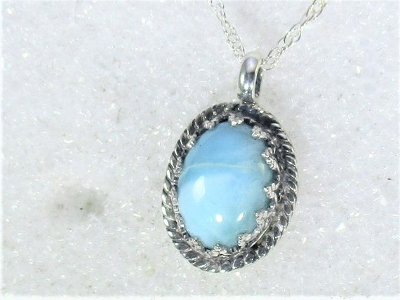 genuine Larimar gemstone handmade sterling silver pendant necklace - larimar jewelry- larimar