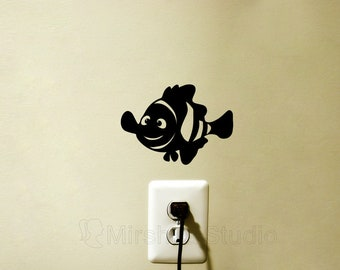 Finding Nemo Velvet Wall Decal - Nemo Laptop Sticker - Fish Kids Room Decor - Cute Macbook Decal - Nursery Wall Art - Nemo iPhone Decals