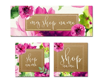 Floral & Kraft Paper Facebook Kit , All The Graphics You Need In One Kit , Perfect For Your Shop!