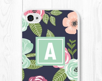 Gift Phone Case Custom Monogrammed iPhone SE Case iPhone 6 Case iPhone 7 Case Floral iPhone 5s Case Flower iPhone Case iPhone 5 Case