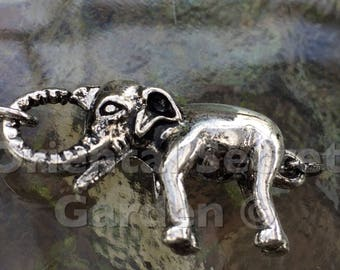 Elephant lobster clasp, (L01S), 1 3/4 x 3/4 inches, silver plated, double sides, Original design and copyrighted! New arrivals!